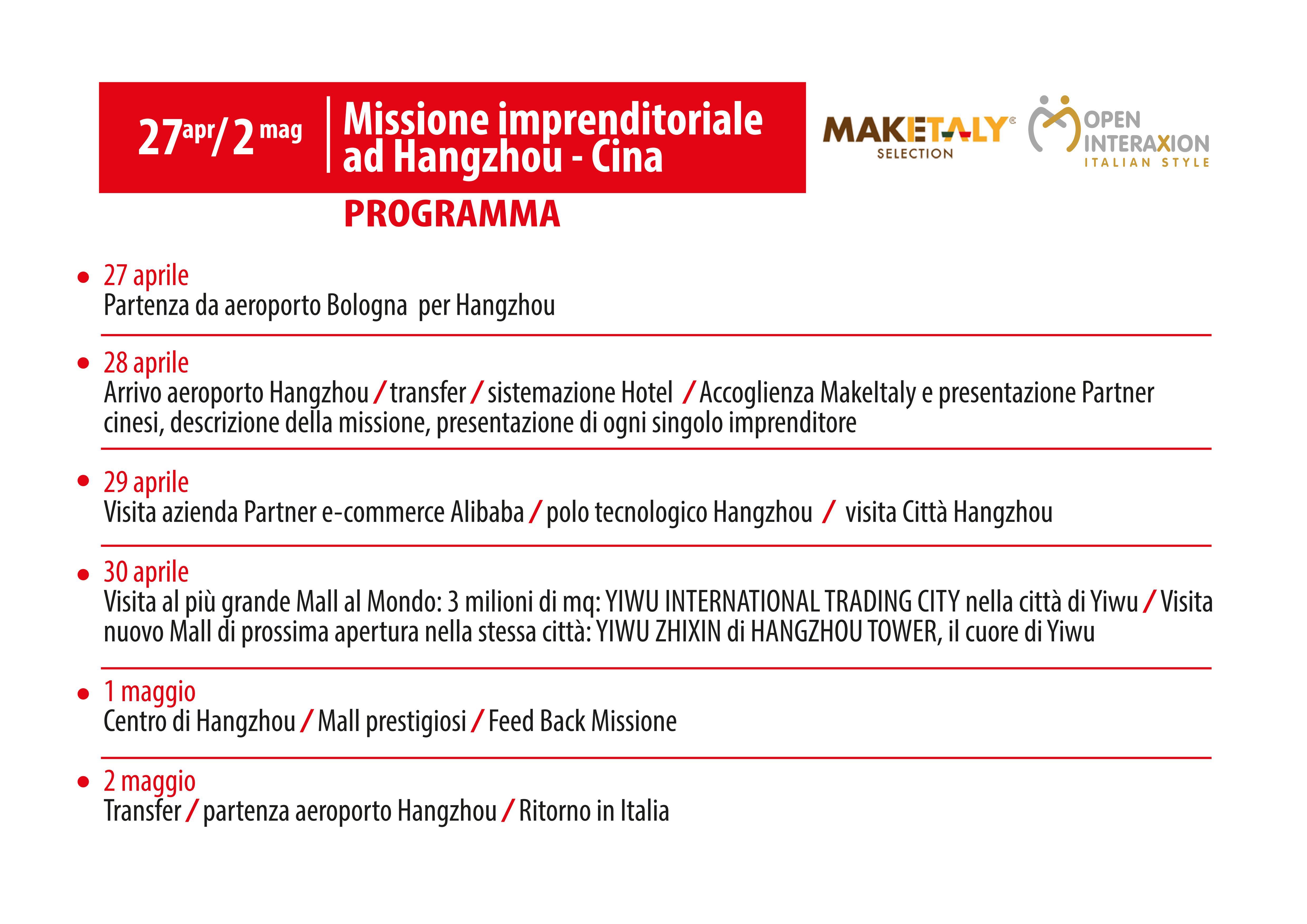 Missione Make Italy Cina